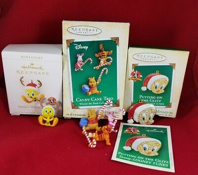 Hallmark Miniature Ornaments 3 Box  2 Tweety, Winnie the Pooh, Tigger and Piglet