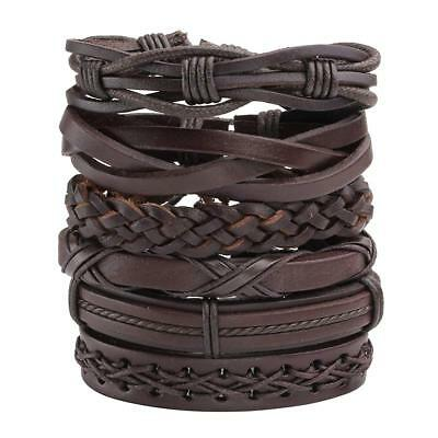 6pcs Men Women Brown Braided Leather Bracelet for Cuff Wrap Wristband Set Gift