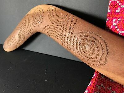 Old Australian Aboriginal Hand Carved Boomerang …with carved tribal designs