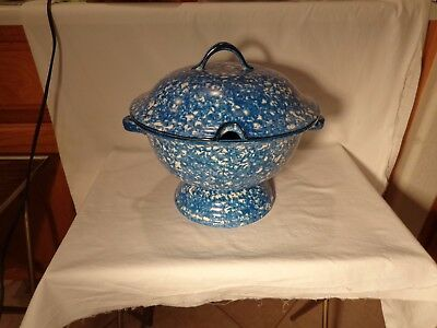 Very Rare 2 Pc Stangl Pottery 5287 Blue Town N Country 1 Gallon Tureen  -  Nr