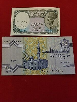 2 EGYPT Paper Money 5 & 25 Piastres UNC ISSUED 2006