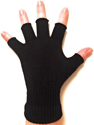 Unisex Black Fingerless Gloves - Winter Gloves for Kids and Adults