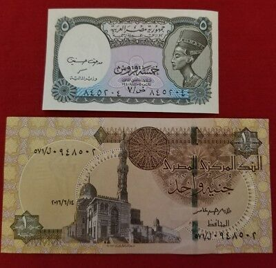 2 EGYPT Paper Money 5 & 100 Piastres UNC(one pound)