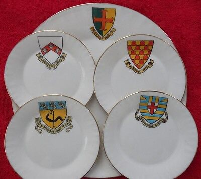 5 Pieces of W H Goss Crested China - Plates From Various Abbeys (4 B&B 1 Dinner)