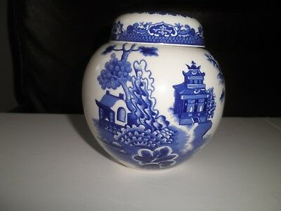 """Blue """"willow"""" R. Twining - Ginger / Tea Jar With Lid - Burgess & Leigh - England"""