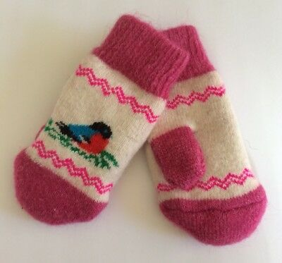 New Kids Knitted Sheep wool mittens Very warm Birds White Pink 3-5 Years Old