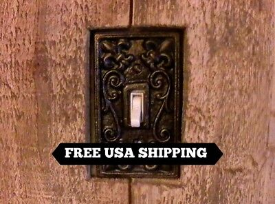 Metal Single Light Switch Plate, Cover, Old World, Tuscan, Medieval Fleur de Lis