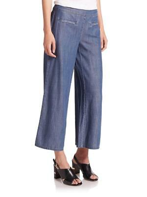NEW $168 Eileen Fisher WIDE LEG CROPPED PANT Denim Tercel Jeans L NWT