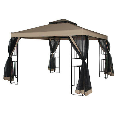 Patio Gazebo Canopy 10 X 10ft Backyard Double Roof Vented W Mosquito Netting