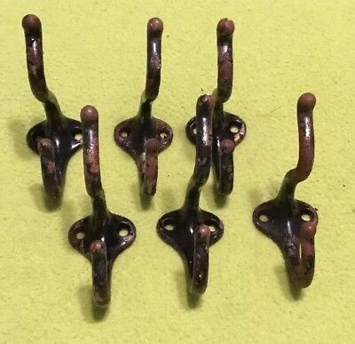 Vintage ~ Original ~ Coat Hooks ~ Cast Iron ~ Lot Of Six