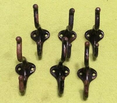 Vintage ~ Coat / Hat Hooks ~ Original ~ Cast Iron ~ Double Hook ~ Lot Of 6