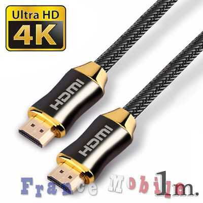 Cable HDMI 2.0 4K 60Hz Professionnel Ultra HD 2160p 3D Full HD ARC HDR 1 m Noir