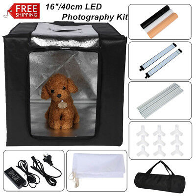 "Foldable 16"" 40cm LED Photography Tent Power Supply Background Backdrops Kit Bag"