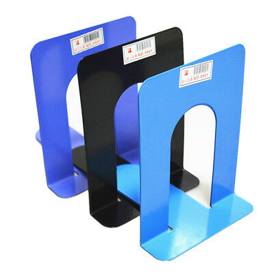 """2X 6.7"""" L-Shaped Bookend Anti-skid Solid Metal Shelf Book Holder Home Office FT"""