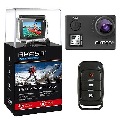 AKASO V50 Native 4K/30fps 20MP WiFi Action Camera with EIS Ultra HD 30m Water...
