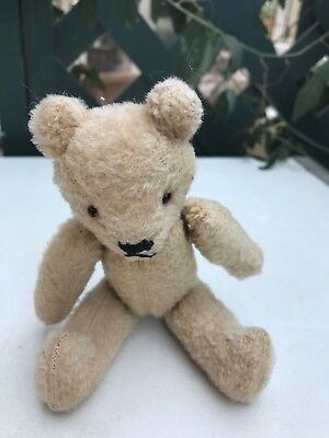 Vintage Bear, small  with  glass eyes. 6 inches - stitched limbs.