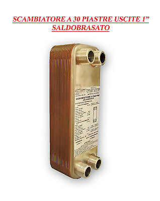 """30 Plate Heat Exchanger Copper Brazed 1"""" Outlets For Civil And Industrial Use"""