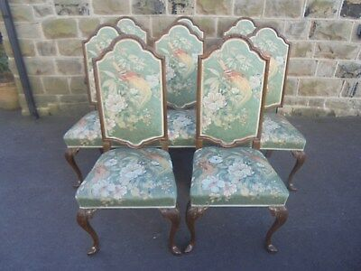 Quality Antique Set 8 Walnut Queen Anne Style Dining Chairs