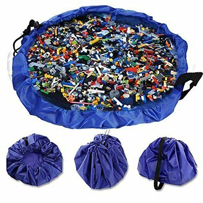 Kids Play Mat Organizer with Two Cord Pull Closure - Toy Storage Bag/ Picnic Mat