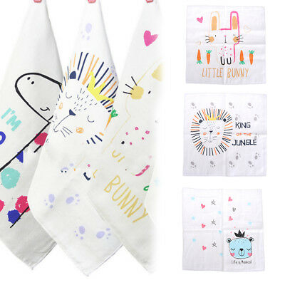 Baby Boy Girl Small 4 layer Wash Cloth Saliva Nursing Towel Cartoon Handkerchief