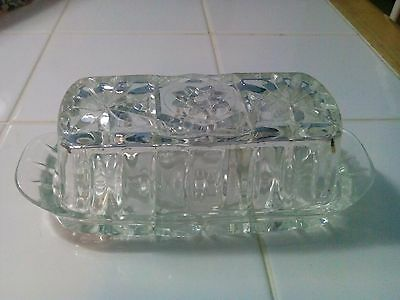 Vintage Anchor Hocking Star of David EAPC Prescut Glass Butter Dish Lid and Tray