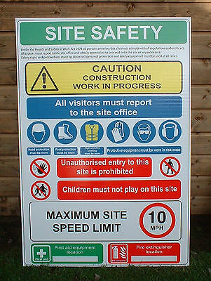 4 X Building Site Safety Sign PPE Sign Large 600mm X 800mm Warning & Safety Sign