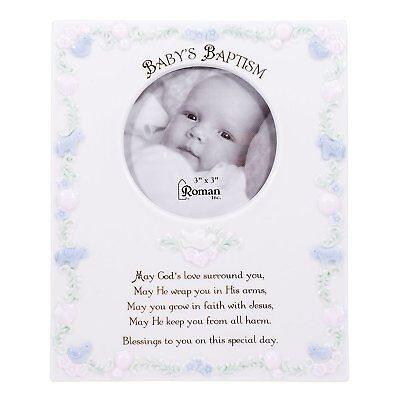 Baby's Baptism Blessings White Porcelain 3x3 Picture Frame