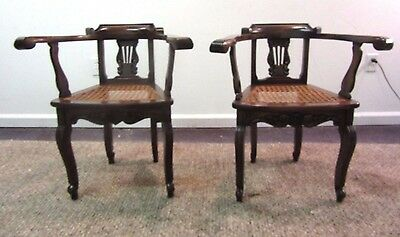 Pair Of Matching Antique Victorian Cane Seat Arm Chairs