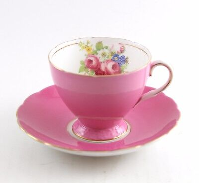 Foley English Bone China Pink Tea Cup & Saucer Set with Flowers