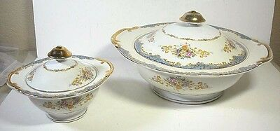 C R China Tuillerie Large and Small Covered Bowls Japan 2 Pieces