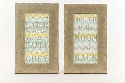 SET 2 I Love You To The Moon And Back You Are My Sunshine Yellow Grey Nursery