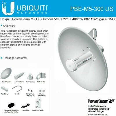 Ubiquiti PBE-M5-300 US Version PowerBeam M5 22dBi 400mW AIRMAX Bridge.