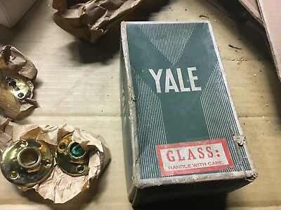 "never used new old stock Yale hardware GLASS door knob set 5.5"" L pretty brass"