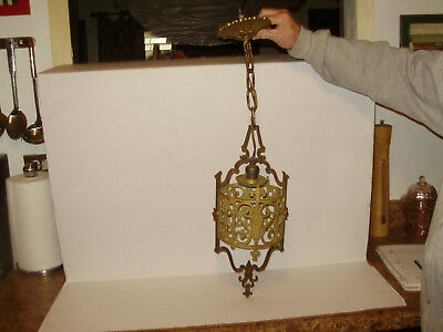 Antique 1920's Spanish Revival Gothic  Iron Ceiling Hanging Light Pendant Light