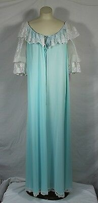 Vintage Lucie Ann Peignoir Robe Full Sweep Nightgown Mint Blue Lace VTG Negligee