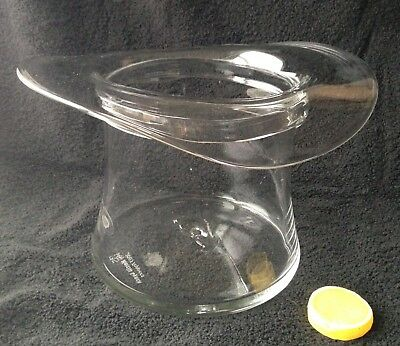 "Blenko 2003 Glass Top Hat Champagne Bucket Hand-Blown Clear 12""  Signed"