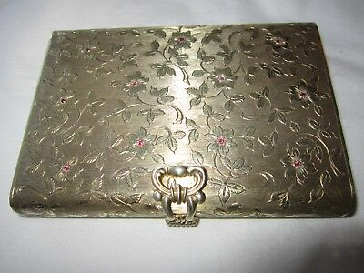 Vintage Floral 800 Silver 210FI Rubies Ruby Decor Cosmetic Minaudiere Clutch