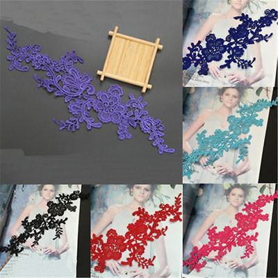 1 Pair Flower Venise Lace Trims Applique DIY Wedding Sewing Embroidery Craft