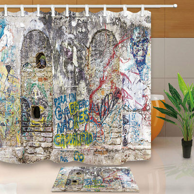Rustic Graffiti Brick Wall Bathroom Shower Curtain Set Fabric & 12 Hook 71Inches