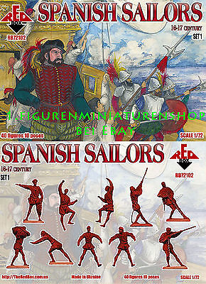 1:72 FIGUREN 72102 Spanish Sailors 16-17 centry Set 1 - REDBOX