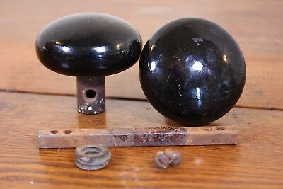 Black Ceramic Porcelain Antique Door Knob Set & Hardware Salvage Architectural
