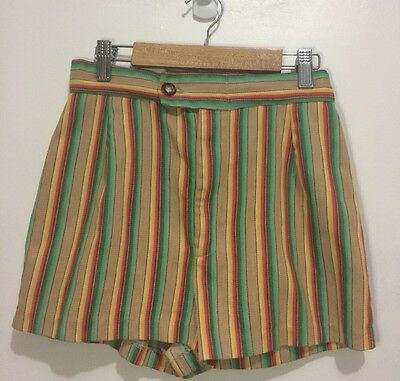 High Waisted Shorts XS Multi-Color Retro Print Zip Fly Button