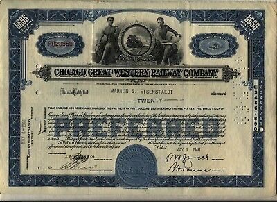 1946 Chicago Great Western Railroad Company Stock Certificate