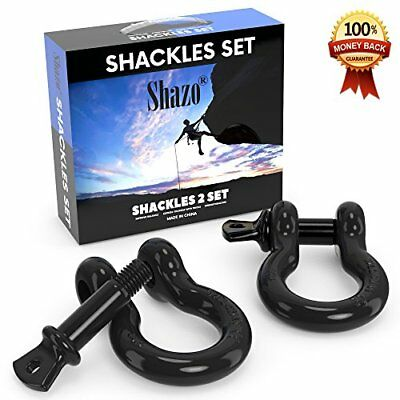 "D Ring 3/4"" Shackles 2 Pk Unbreakable 40,000 lbs D Ring Shackle Vehicle Recovery"
