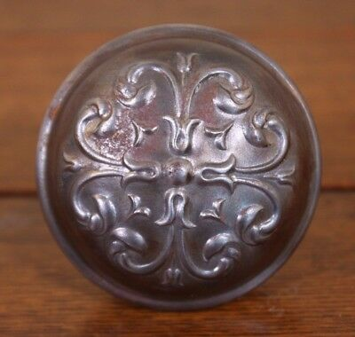 A Antique Ornate Door Knob Vtg Metal Architectural Salvage Shabby Restore Part
