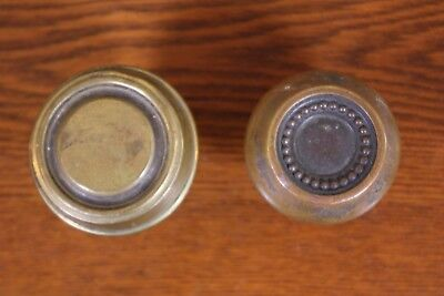 Lot of 2 Antique Brass Door Knobs Architectural Salvage Replacement Part Shabby