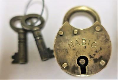 Antique Victorian Dog Collar NABIC BRASS PADLOCK with 2 Brass Keys