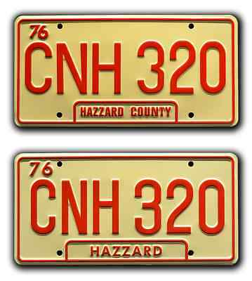 Dukes of Hazzard | General Lee Double CNH 320 | STAMPED Prop License Plate Combo