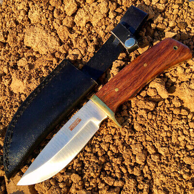 "9.5"" Defender Xtreme Full Tang Hunting Knife with Real Wood Handle and Leather S"