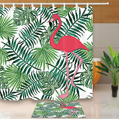 Watercolor Flamingo Palm Leaves Shower Curtain Set Fabric & 12 Hooks 71Inches